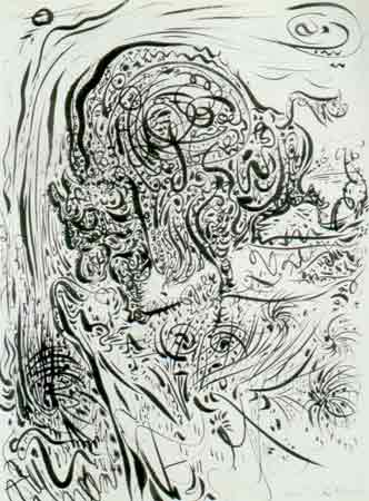 Bison on the brink of a chasm 1944 by Andre Masson