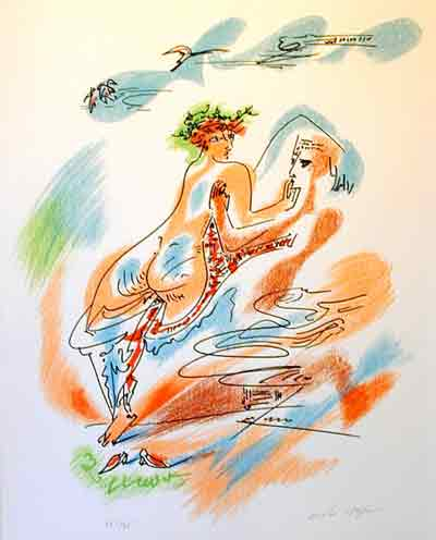 Cupid and Psyche from an edition of the Verve 1938 by Andre Masson