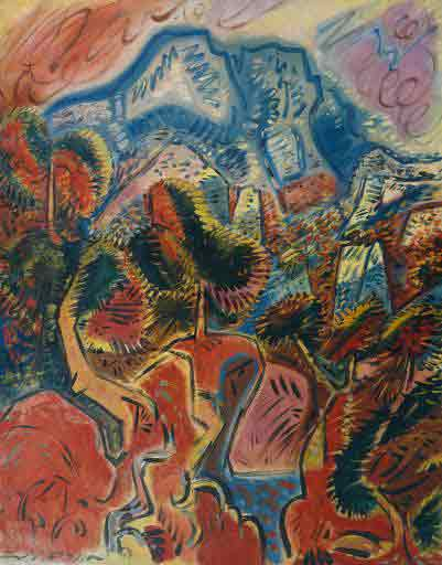 The red lands and the Montagne Sainte Victoire 1948 by Andre Masson