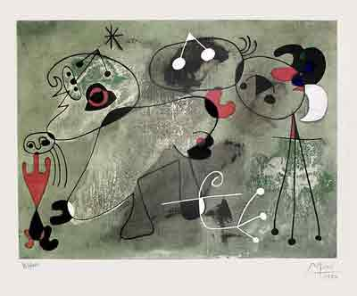 Composition sur fond vert 1950 by Jean Miro