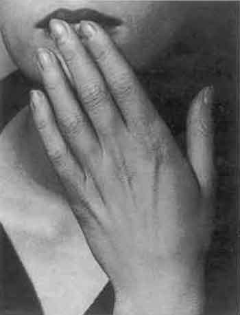 Hand on lips by Man Ray