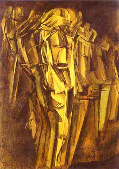 Sad young man in a train by Marcel Duchamp