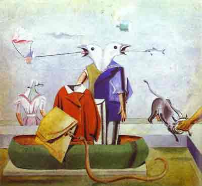 Birds, fish-snake and scarecrow 1921 by Max Ernst