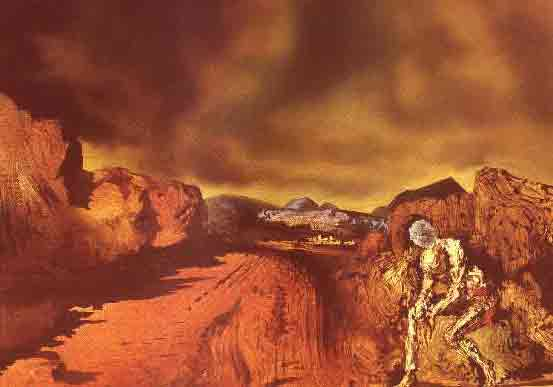 The man with the head of blue hortensais 1936 by Salvador Dali
