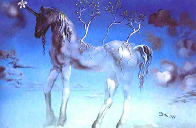 The happy unicorn by Salvador Dali