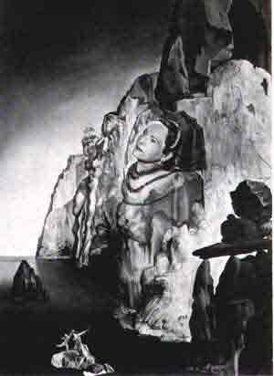 Helena Rubinsteins head emerging from a rocky cliff 1942