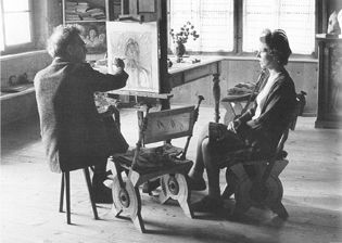 Giacometti with portrait of Annette