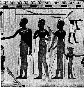 OFFERINGS TO THE DEAD, WALL PAINTING, EIGHTEENTH DYNASTY.(FROM PERROT AND CHIPIEZ.)