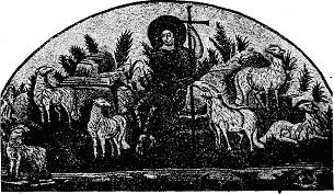 CHRIST AS GOOD SHEPHERD. MOSAIC, RAVEN, FIFTH CENTURY.